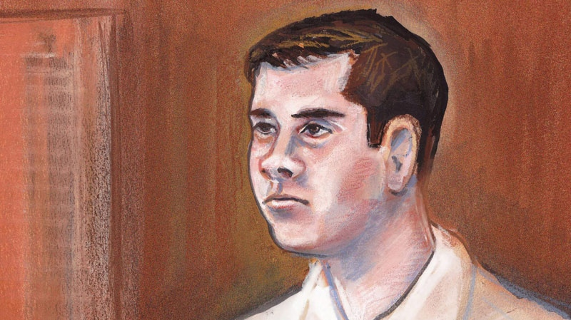 Filmmaker Mark Twitchell, is shown in a courtroom sketch in Edmonton on March 16, 2011. (Amanda McRoberts / THE CANADIAN PRESS)