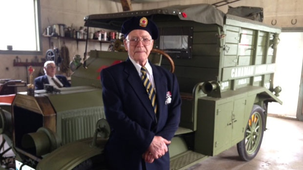 Veteran Ken Turnbull, 89, is shown in Treherne, Man. with the First World War replica ambulance he created.