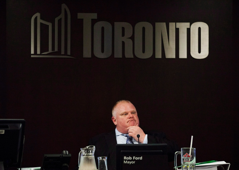Toronto Mayor Rob Ford attends an executive committee meeting at Toronto City Hall on Tuesday, May 28, 2013. (Michelle Siu / THE CANADIAN PRESS)