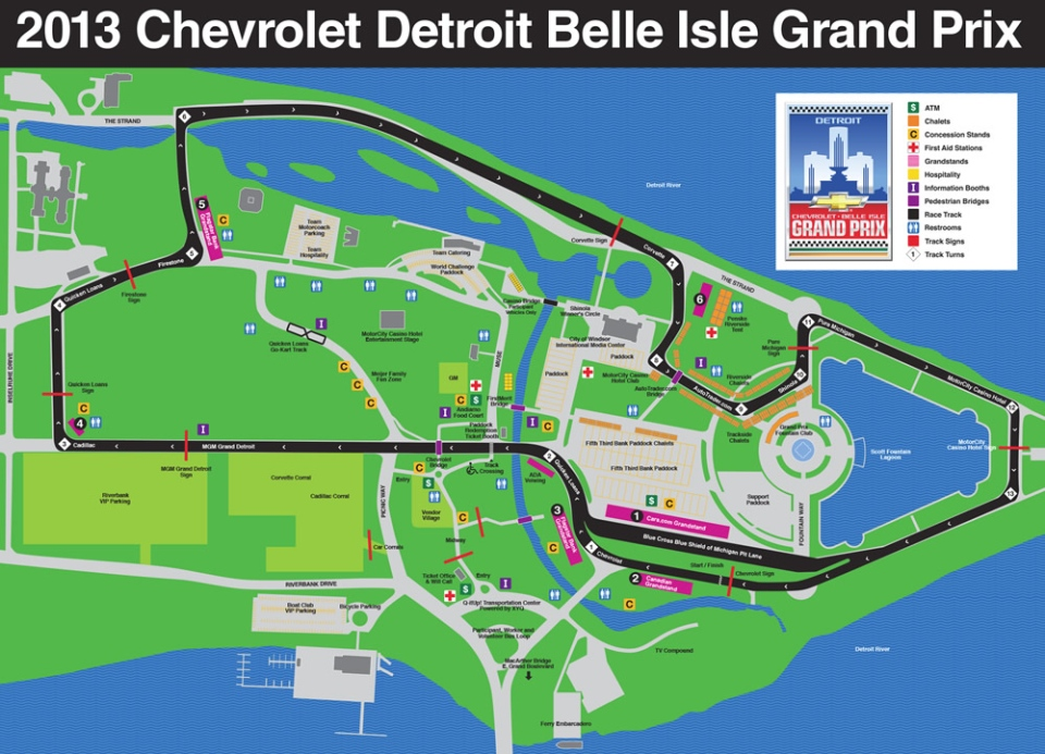 A track map for the Chevrolet Detroit Belle Isle Grand Prix from www.detroitgp.com.