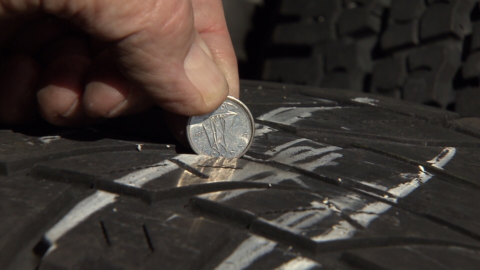 The simple way to check your tire tread is by using a dime. Insert it into the tread and take a look at how much of the ship's sail you can see. May 30, 2013. (CTV)