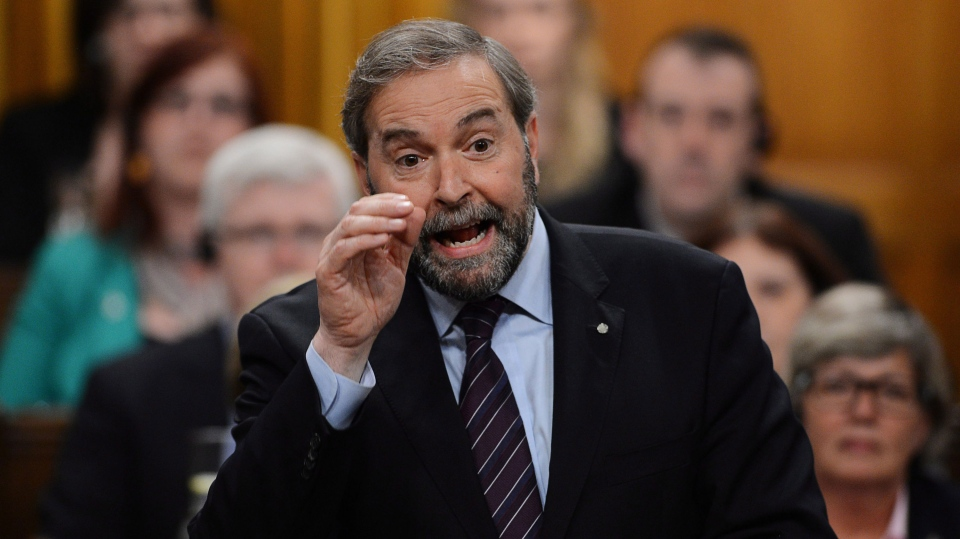 NDP leader Tom Mulcair asks a question during question period in the House of Commons on Parliament Hill in Ottawa on Wednesday, May 29, 2013. (Sean Kilpatrick / THE CANADIAN PRESS)