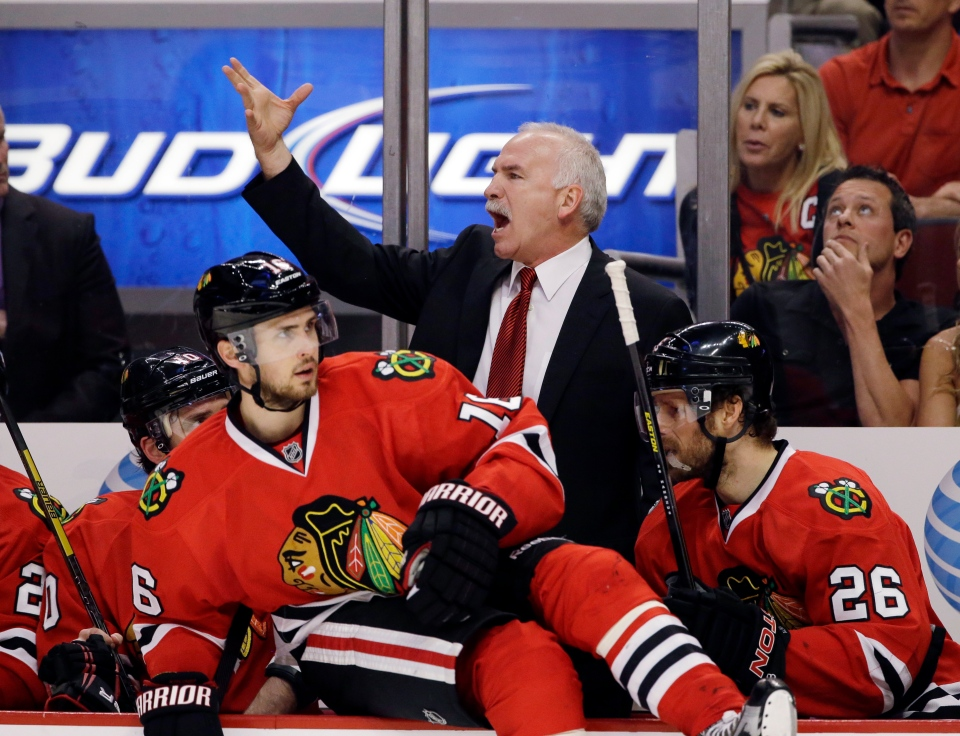 Chicago Blackhawks coach Joel Quenneville shouts during the second period in Game 7 of the NHL hockey Stanley Cup Western Conference semifinals against the Detroit Red Wings, Wednesday, May 29, 2013, in Chicago. (AP / Nam Y. Huh)
