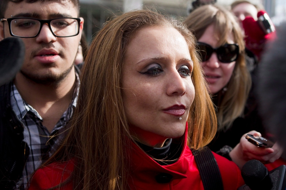 Yasmin Nakhuda leaves Ontario Superior Court in Oshawa, Ont., Friday, Feb. 1, 2013. (Chris Young / THE CANADIAN PRESS)