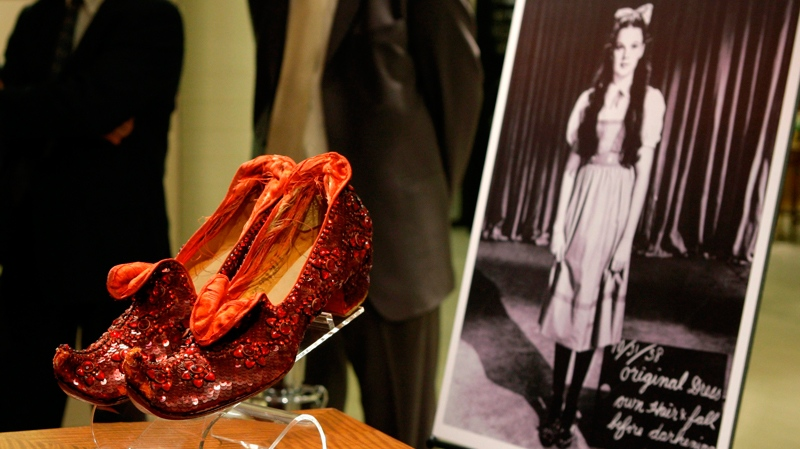 Judy Garland's Arabian ruby slippers on display at Saks Fifth Avenue in New York, Thursday, Sept. 4, 2008. (AP / Kathy Willens)