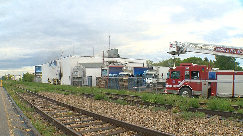 Firefighters on the scene of a blaze inside the Arctic Glacier plant on 121 Ave. and 121 St. Wednesday, May 29.