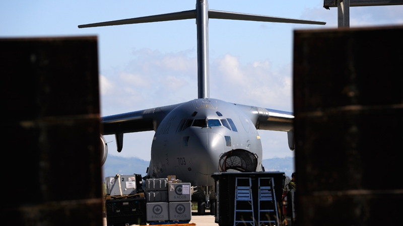 A Canadian Forces CC-177 Globemaster III is seen at an Italian air base in Trapani. (Cpl. Marc-Andre Gaudreault / Department of National Defence)