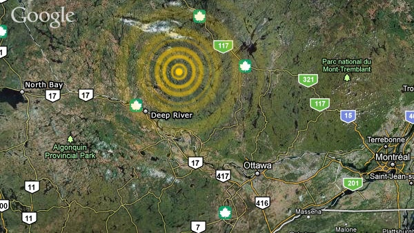 A 3.5-magnitude earthquake was reported about 66 kilometres northeast of Deep River, Tuesday, March 29, 2011.