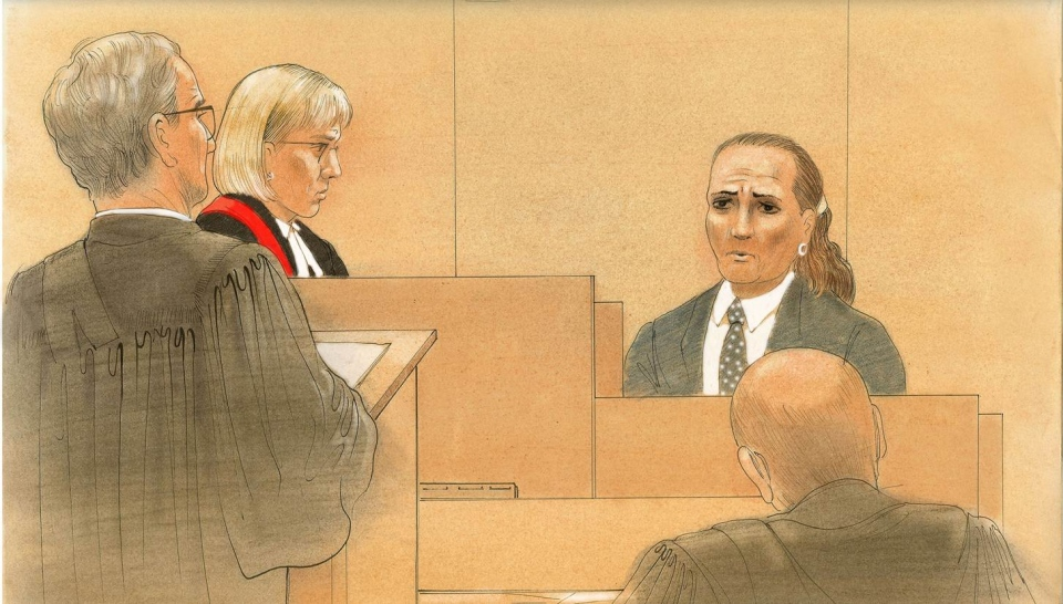 Yasmin Nakhuda is seen testifying in this court sketch on Thursday, May 30, 2013. (John Mantha for CTV News)