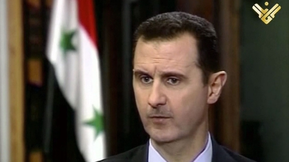 This image made from video shows Syrian President Bashar Assad during an interview broadcast on Al-Manar Television on Thursday, May 30, 2013. (Al-Manar Television)
