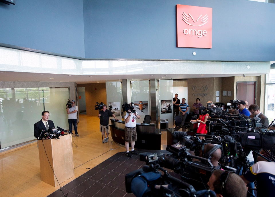 Rob Giguere, Chief Operating Officer for Ornge, speaks to the media in Mississauga after a fatal air ambulance accident claimed the lives of two paramedics and two pilots en route to Attawapiskat on Friday, May 31, 2013.  (Michelle Siu / THE CANADIAN PRESS)
