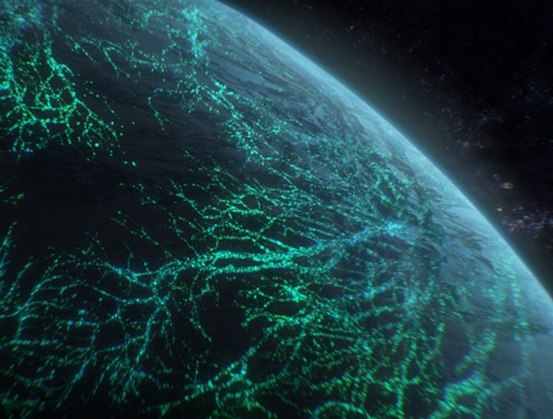 This image, taken from 'Aliens: The Definitive Guide,' shows an artist's concept of a massive web of bacteria that could, in theory, harness energy from a planet's magnetic field.