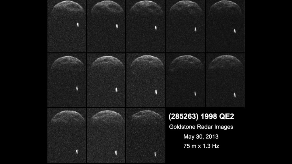 First radar images of asteroid 1998 QE2 were obtained when the asteroid was about 6 million kilometers from Earth. The small white dot at lower right is the moon, or satellite, orbiting asteroid 1998 QE2. ( NASA / JPL-Caltech / GSSR )