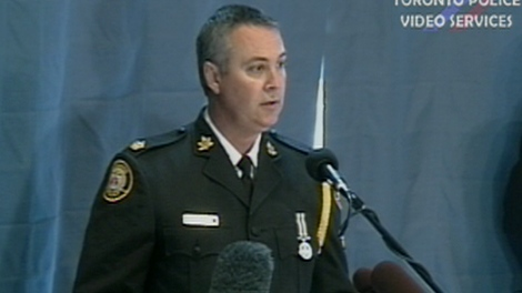 Supt. Tom Fitzgerald of the Toronto Police Service takes questions from the media regarding the arrest of Mohamed Hersi, 25, Wednesday, March 30, 2011.