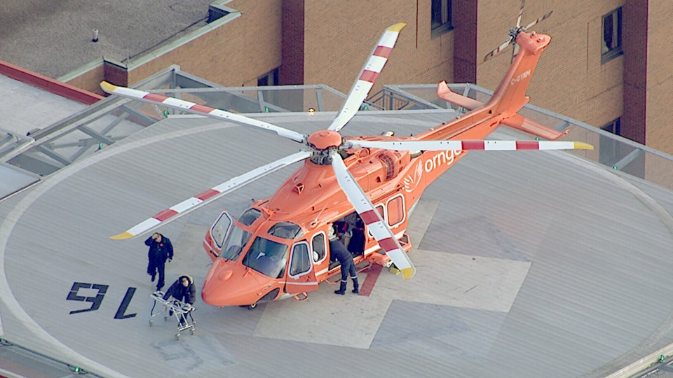 An Ornge helicopter lands on the roof of a Toronto hospital on Friday, May 31, 2013.