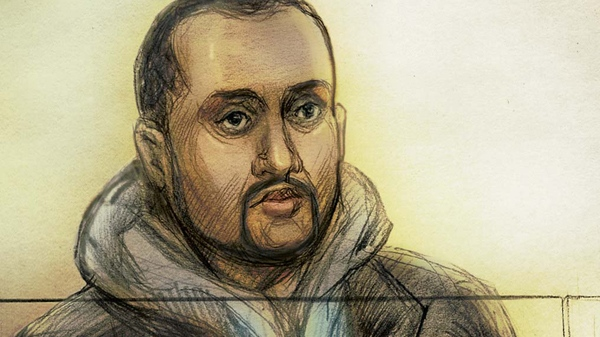 Mohamed Hersi is seen in this artist's rendition during court proceedings in a Ontario Court of Justice courtroom in Brampton, Ont., Wednesday, March 30, 2011. (Natalie Berman for CTV News)