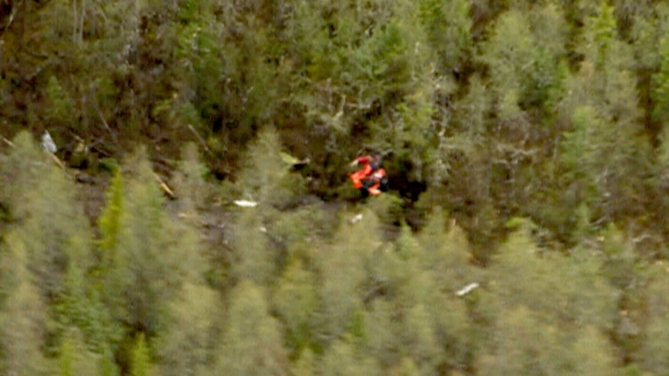 The site of an Ornge air ambulance crash is seen from above in this photo from helicopter video, in Moosonee, Ont., Saturday, June 1, 2013. (CTV Northern Ontario)