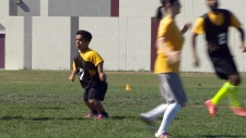 Vivek Bhagria plays a game of ultimate frisbee