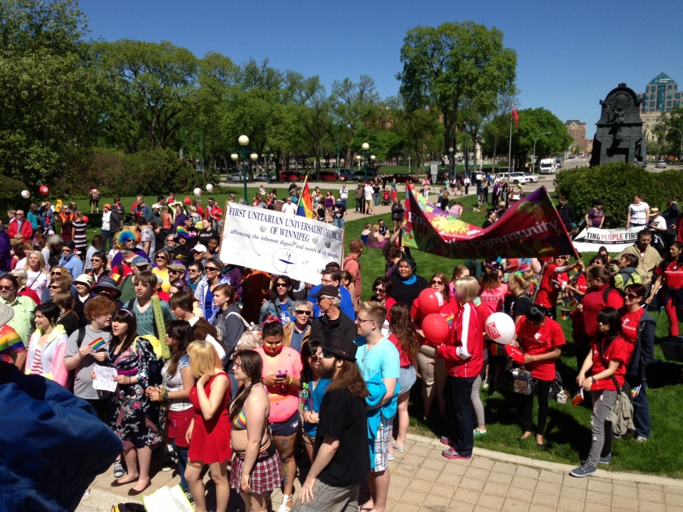 Large crowds turned out Sunday in downtown Winnipeg for the annual Pride Parade.