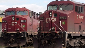 Canadian Pacific locomotives sit in a rail yard in Montreal on Wednesday, May 23, 2012. (Ryan Remiorz / THE CANADIAN PRESS)