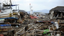 A 'Statue Of Liberty' stands intact among debris left following the March 11 tsunami triggered by a massive earthquake in Ishinomaki, Miyagi Prefecture, northeastern Japan, Thursday, March 31, 2011. (AP / Kyodo News