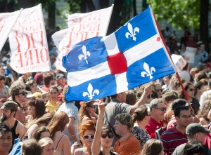 Protesters opposing Quebec student tuition fee hikes demonstrate in Montreal, Wednesday, August 22, 2012. (Graham Hughes / THE CANADIAN PRESS)