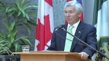 Kitchener Mayor Carl Zehr delivers the 'state of the city' address in Kitchener, Ont. on Thursday, March 31, 2011.