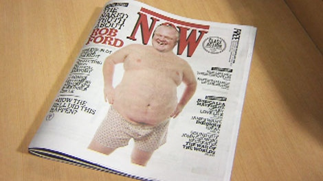 Toronto Mayor Rob Ford appears in altered photos in various states of undress on the cover and inner pages of the latest copy of Now Magazine.