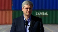Stephen Harper speaks during a Conservative campaign stop in Halifax, Thursday, March 31, 2011