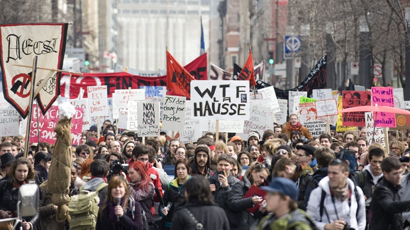 Students demonstrate against proposed tuition-fee hikes in Montreal, Thursday, March 31, 2011. (THE CANADIAN PRESS/Graham Hughes)