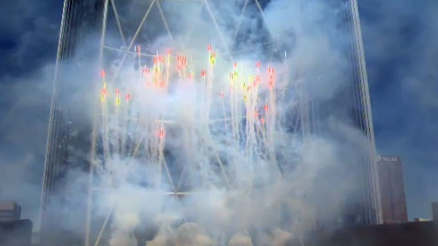 Fireworks at the base of The Bow were part of the grand opening.