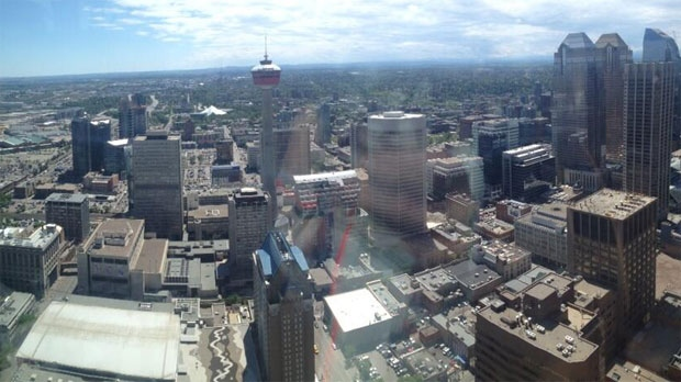 Looking down on the city from the 42nd floor of The Bow.