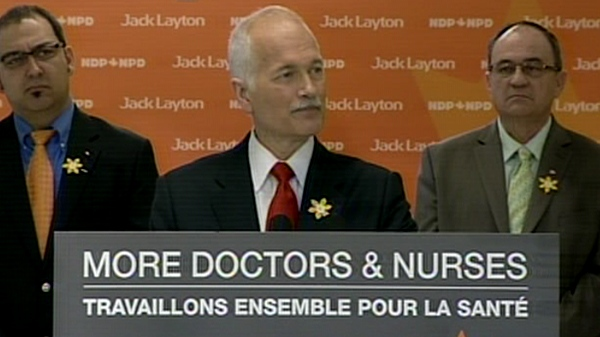Jack Layton speaks during an NDP campaign stop in Sudbury, Ont, Friday, April 1, 2011.