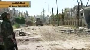 A Syrian army tank in Qusair