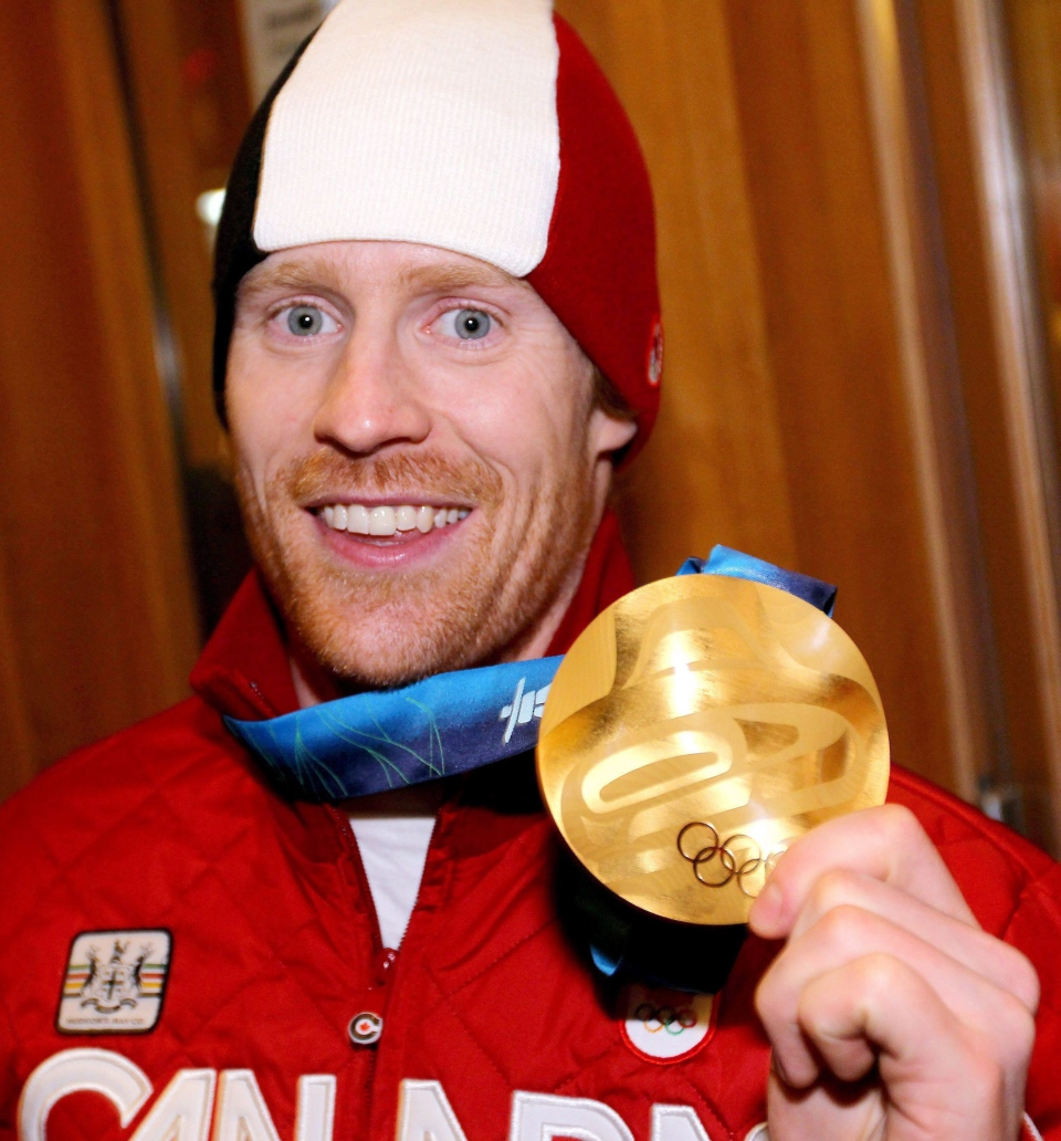 Canadian Jon Montgomery celebrates his gold medal Saturday February 20, 2010, at the 2010 Vancouver Olympic Winter Games in Whistler, B.C. (Boris Minkevich / THE CANADIAN PRESS)
