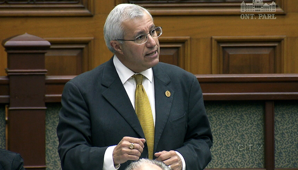 Conservative MPP Vic Fedeli speaks about the deletion of emails related to the cancelled gas plants, at Queen's Park in Toronto, Thursday, June 6, 2013.