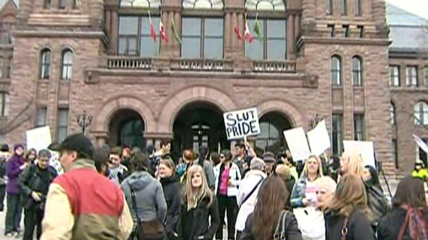 """A group of organizers organized a """"Slut Walk"""" to protest comments made to York University students by a Toronto police officer. The officer said women could feel safer on campus if they didn't dress like """"sluts"""". April 3, 2011."""