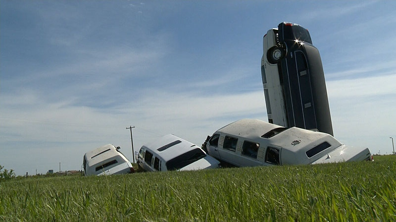 There's a unique monument at he Aldon Auto Salvage yard in the town of Lamont. Several stretch limousines have been arranged in a very particular manner - a work of art that's been attracting tourists to the town.