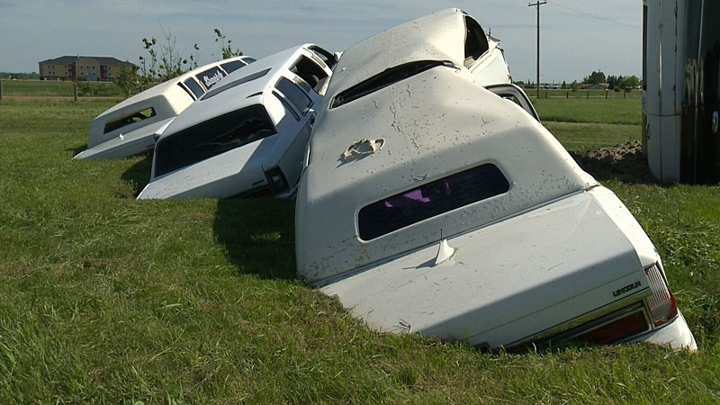 The unique creation began when Terry Carter acquired two stretch limousines. One had bad damage to its right side so Carter thought he would create a car crash scene with the vehicles. Before he knew it, the monument had grown to feature five limos.