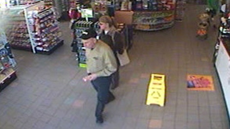 Surveillance images from a Baker City, Oregon gas station show Albert and Rita Chretien's last known whereabouts. April 3, 2011. (Handout)