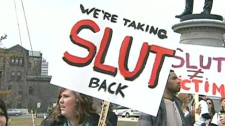"A group of organizers organized a ""Slut Walk"" to protest comments made to York University students by a Toronto police officer. The officer said women could feel safer on campus if they didn't dress like ""sluts"". April 3, 2011."