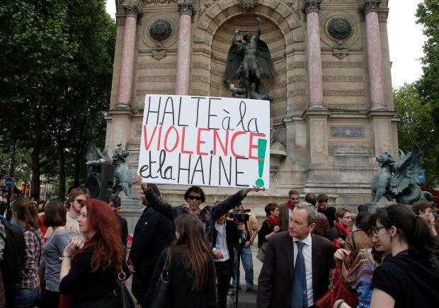 France skinhead protesting