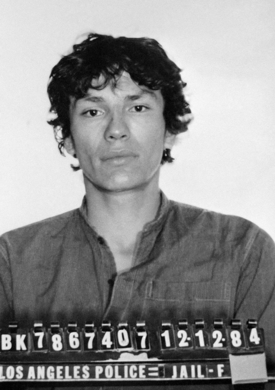 This undated file photo released by the Los Angeles Police Department shows the booking photo of serial killer Richard Ramirez in Los Angeles, Calif.