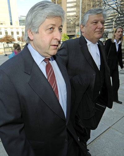 Myron Gottlieb, Livent Inc. co-founder, left, and lawyer Brian Greenspan arrive at Ontario Superior Court in Toronto on Monday, May 5, 2008. (Aaron Harris / THE CANADIAN PRESS)