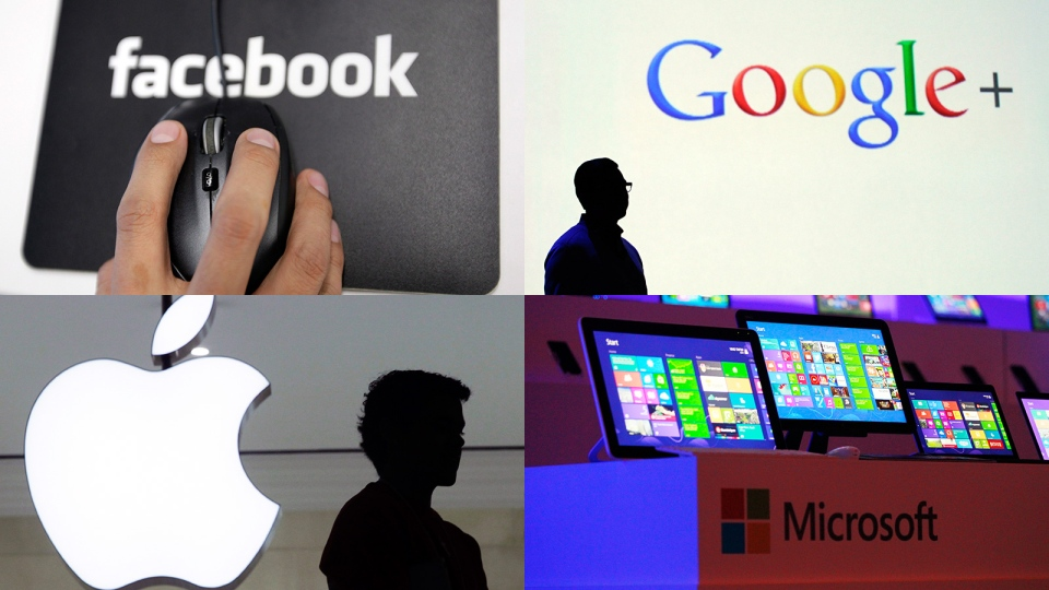 After it was revealed that the U.S. National Security Agency and the FBI secretly scour Internet usage data, several tech companies were asked to respond to questions about whether they participate and hand over information. (AP / Wally Santana / Mark Lennihan / Paul Sakuma)