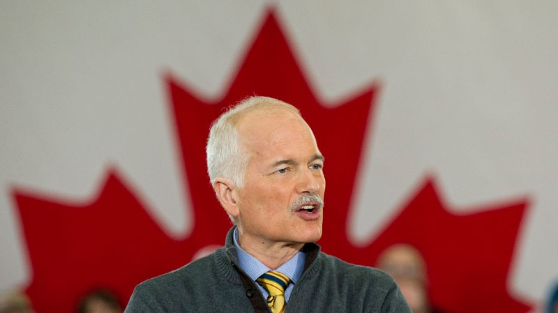 NDP Leader Jack Layton delivers a speech during a campaign rally in London, Ont., Monday, April 4, 2011. (Paul Chiasson / THE CANADIAN PRESS)