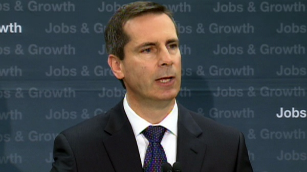 Ontario Premier Dalton McGuinty comments to reporters about 'equal treatment' from Ottawa, during a press conference in Toronto, Monday, April 4, 2011