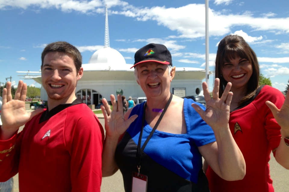 Star Trek fans strike a pose at the annual 'Spock Days' festival in Vulcan, Alta, on June 8, 2013. (Brendan Miller / CTV Lethbridge)