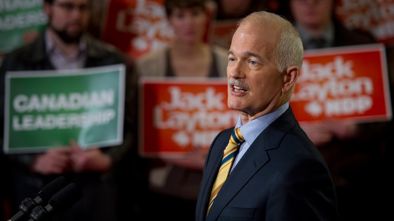 NDP Leader Jack Layton speaks to supporters in Toronto, Monday, April 4, 2011. (Paul Chiasson / THE CANADIAN PRESS)