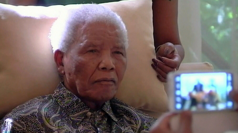 The ailing anti-apartheid icon Nelson Madela is filmed on Monday April
